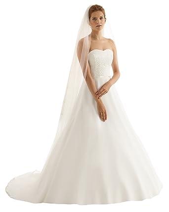 size 40 b5755 7e6ba Einstufiger Brautschleier Schleier lang mit schlichter Schnittkante, creme  / ivory