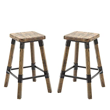Surprising Homcom 2 Piece 24 Tall Rustic Industrial Armless Square Wood Top Bar Stool Set Black Woodgrain Ncnpc Chair Design For Home Ncnpcorg