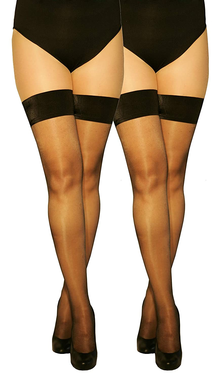 Marilyn transparente halterlose Str/ümpfe 10 Denier