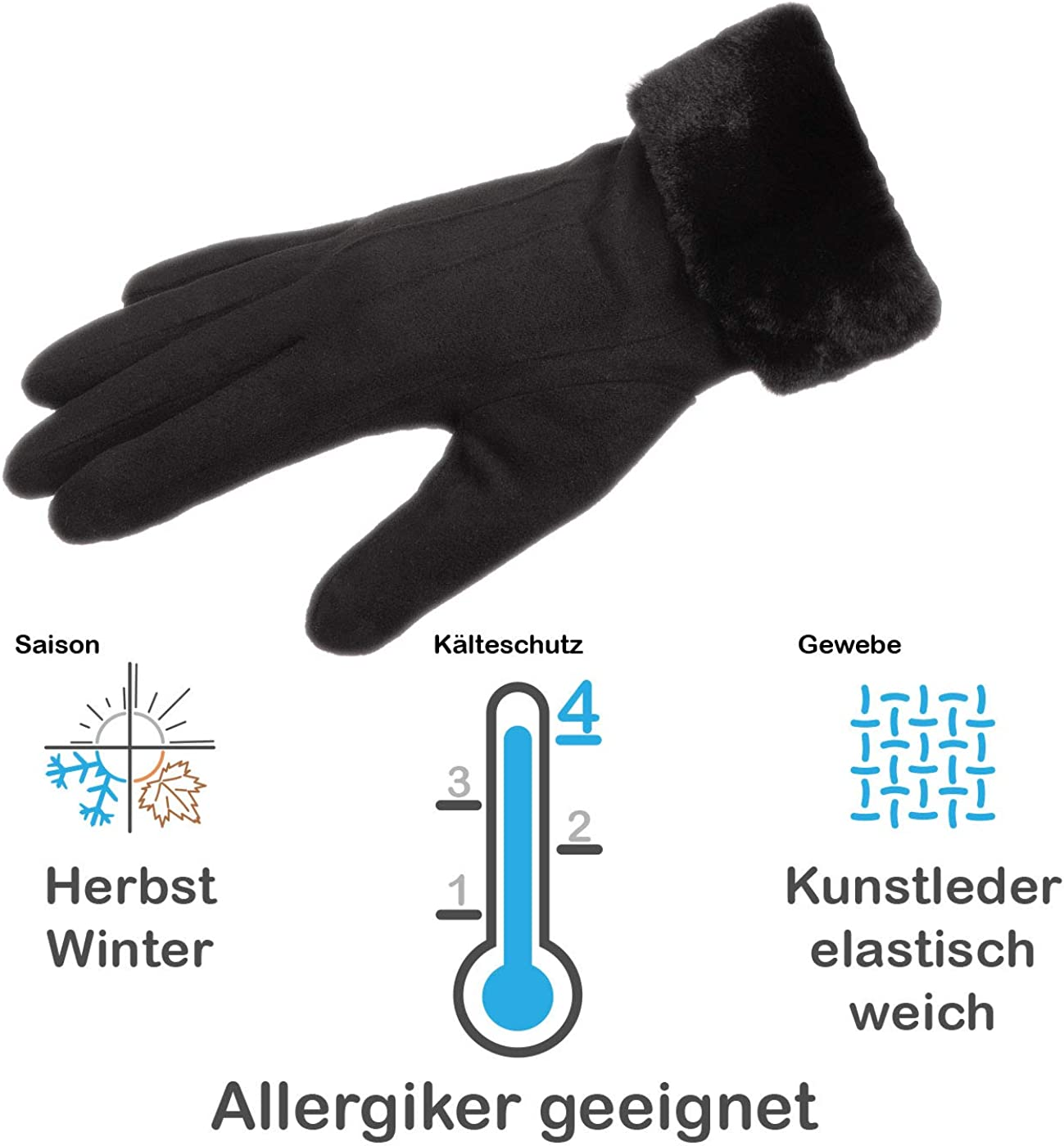 Faera Lederhandschuhe Damen gef/üttert Touchscreen Handschuhe Leder Winterhandschuhe Gloves Onesize