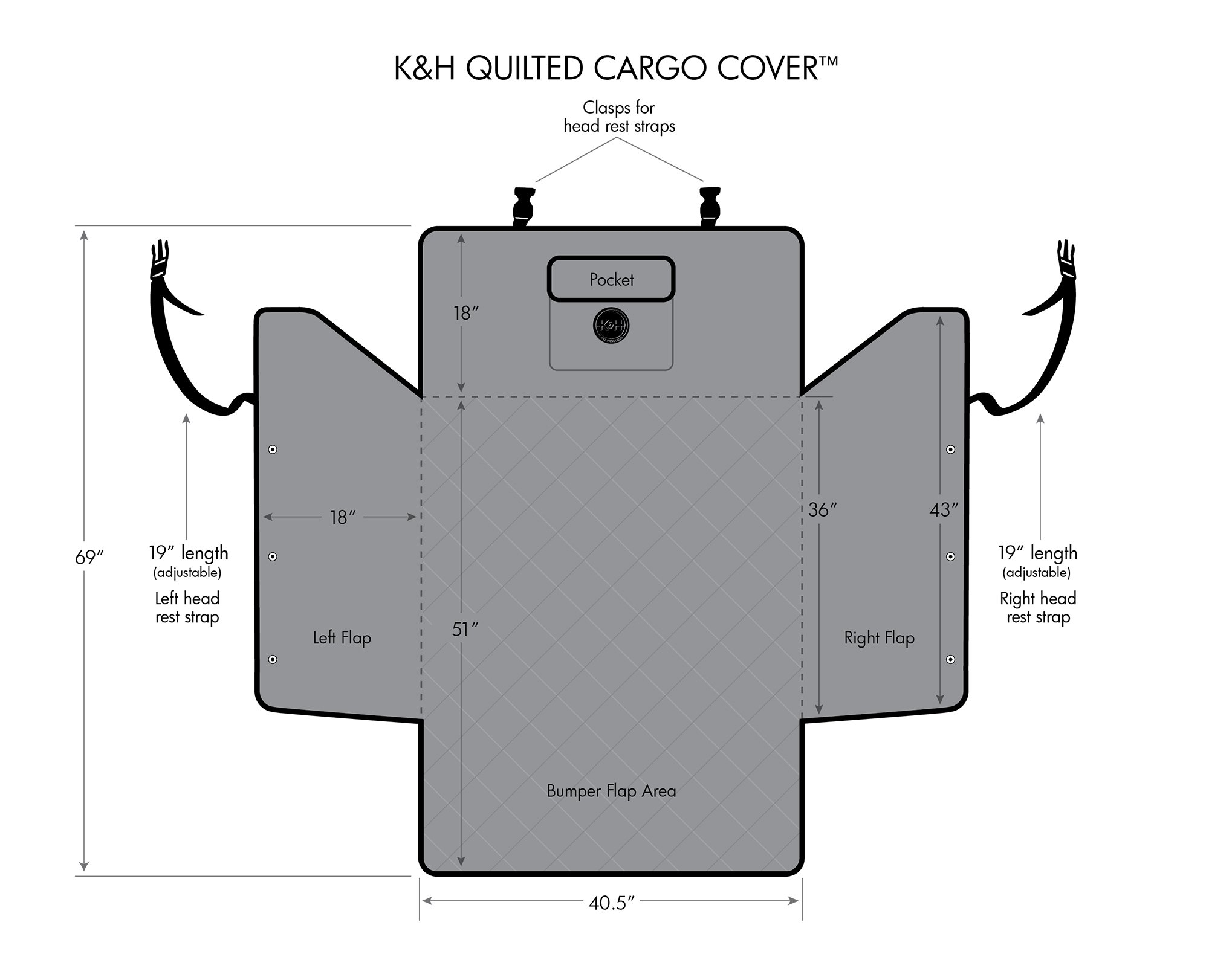 K&H Pet Products Quilted Cargo Pet Cover & Protector Gray by K&H Pet Products (Image #3)