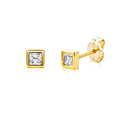 Miore 9 kt (375) Yellow Gold Cubic Zirconia Crystals Stud Earrings for Women, 5.5mm
