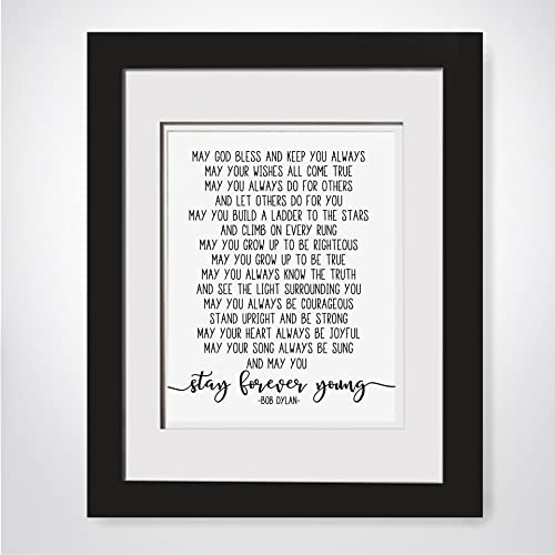 Amazon.com: Bob Dylan Lyrics, Stay Forever Young, Framed Song Lyrics ...