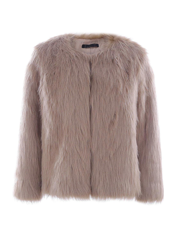 BerryGo Women's Fluffy Shaggy Faux Fur Coat Outwear BECL06616