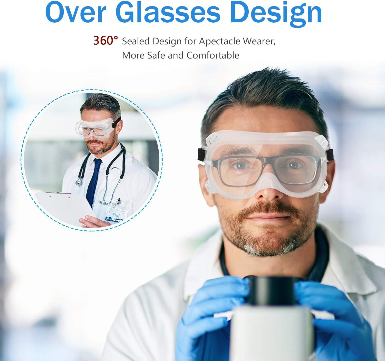 con cuatro rejillas de ventilaci/ón viene con pa/ño para gafas totalmente cerradas con protecci/ón UV para mantener tu seguridad en cualquier entorno Gafas de seguridad