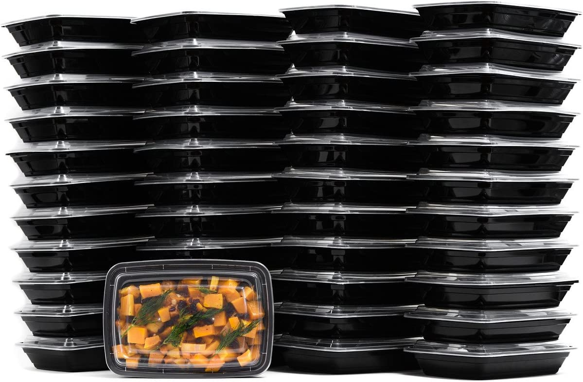 38 oz Reusable Food Storage 25 Pack Containers with Lids by EcoQuality – Rectangular BPA Free Freezer, Microwave & Dishwasher Safe – Airtight & Watertight Stackable, Lunch Meal Prep, To-Go, Bento Box
