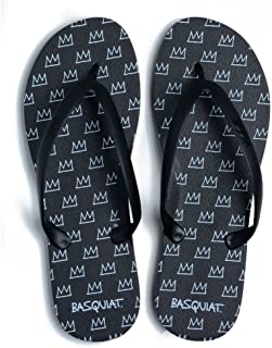 product image for Tidal New York Comfortable Flip Flop Sandals for Men Jean-Michel Basquiat Crown Black Made in The USA