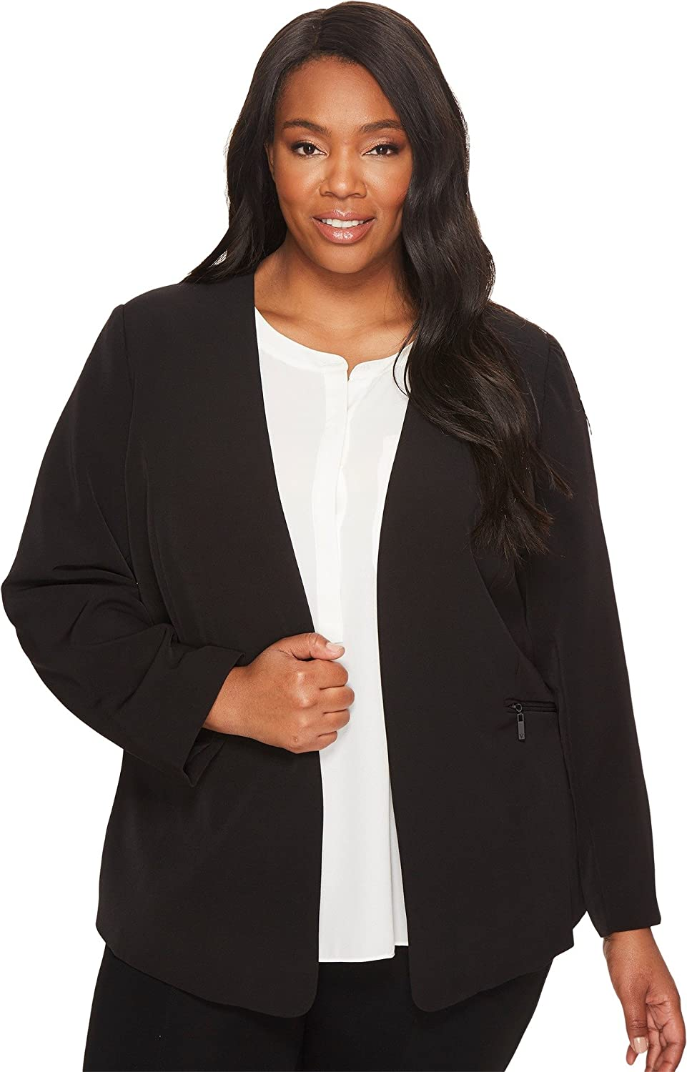 65812c04420 Vince Camuto Specialty Size Women s Plus Size Milano Twill Open Front Blazer  Rich Black 24W  Amazon.co.uk  Clothing