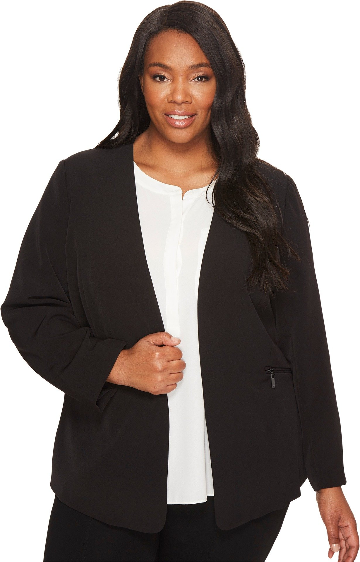 Vince Camuto Specialty Size Women's Plus Size Milano Twill Open Front Blazer Rich Black 22 W