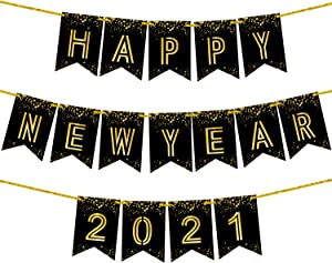 Happy New Year Banner 2021 - Shiny Foil Printed | No DIY Required | Large, Black and Gold Backdrop Decor for New Years Eve Party Supplies 2021 | Happy New Year Sign for Happy New Years Eve Decorations