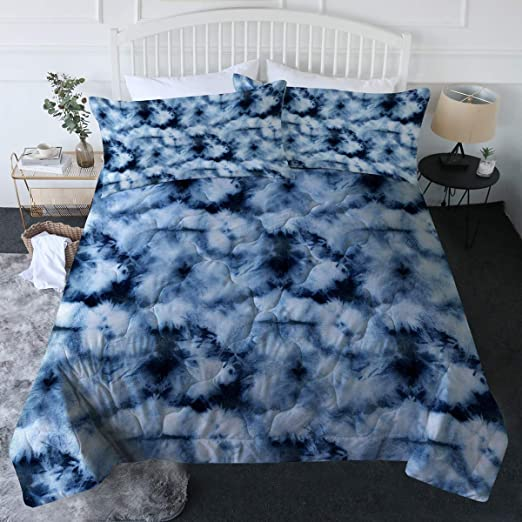 Amazon.com: BlessLiving Tie Dye Comforter Set Blue Tie Dyed