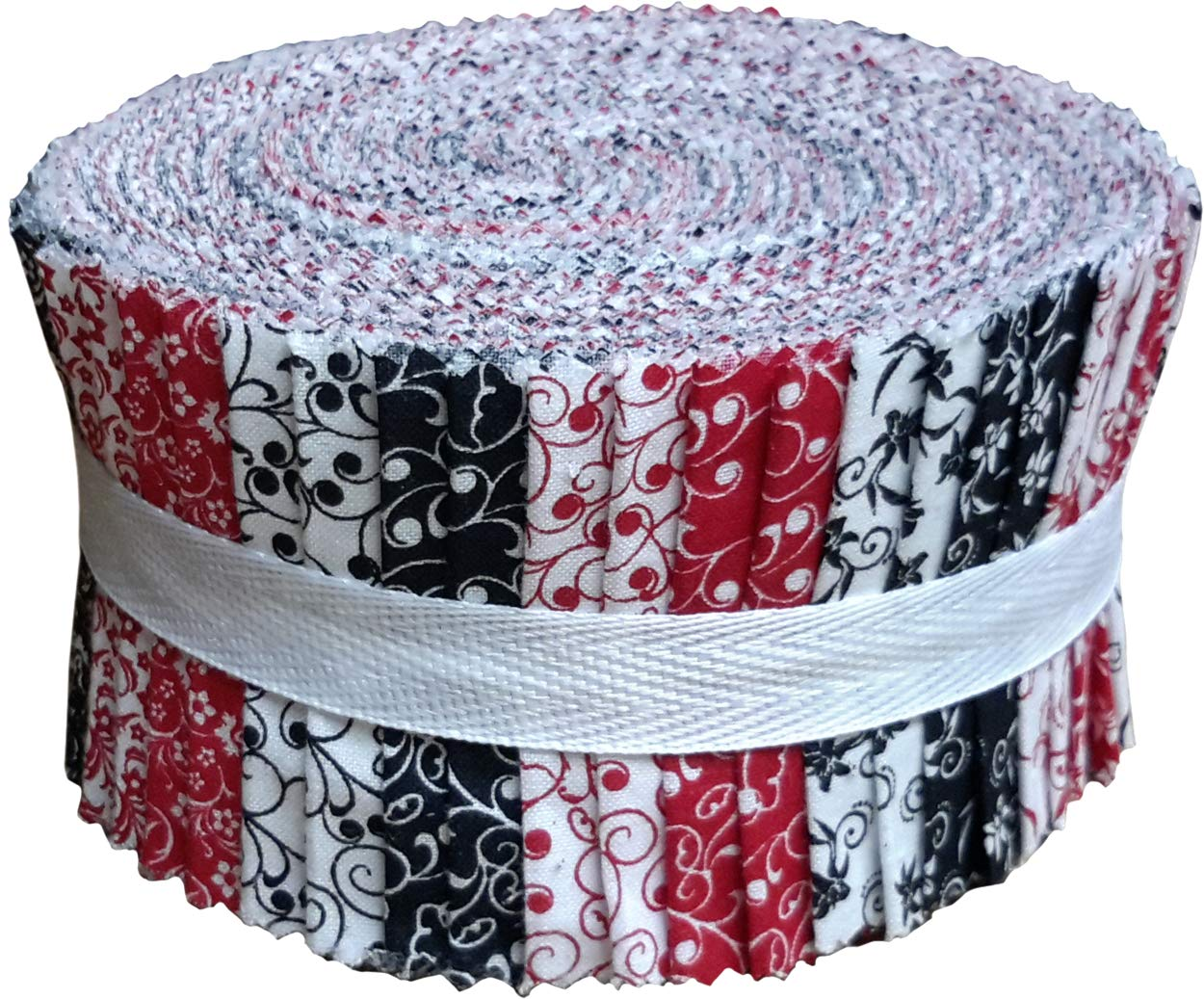 Red Black & White Collection Jelly Roll 40 Precut 2.5-inch Quilting Fabric Strips by Santee