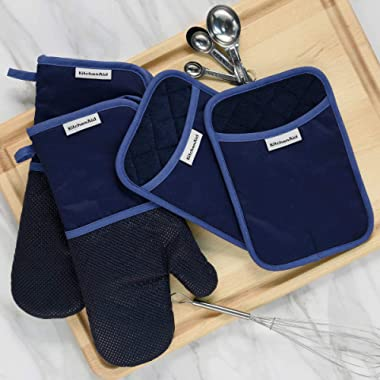 KitchenAid 4 Piece Kitchen Set w/Silicone 2 Oven Mitts, 2 Pot Holders (Blue)
