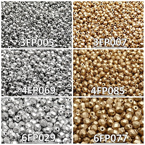 Glass Beads Round 3mm, 4mm, 6mm, Two Colors. Total 500 pcs. Set 2CFP 012 (3FP005 3FP007 4FP069 4FP085 6FP029 6FP077) ()