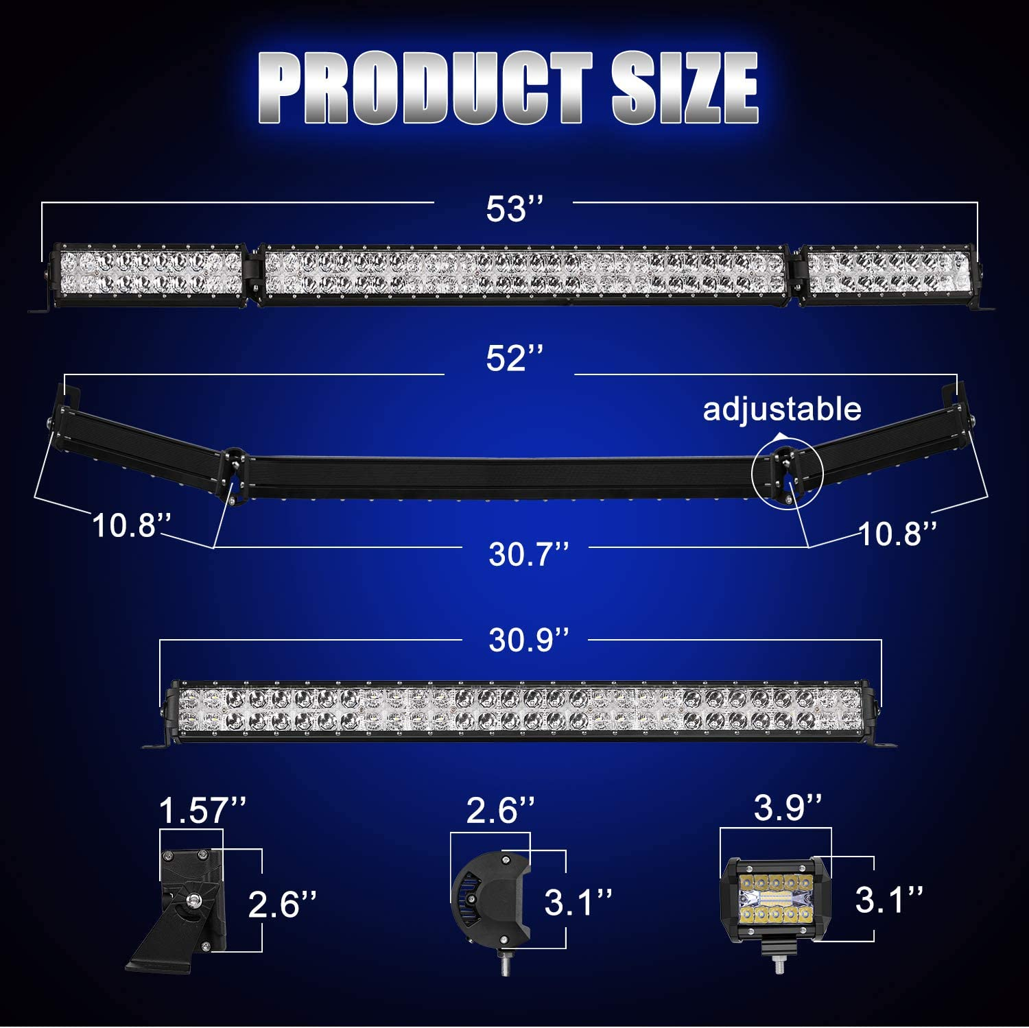 32 Inch 35000LM Flood Spot Beam Combo White LED Light Bars AutoFeel LED Light Bar Kit 6000K OSRAM Chips 52 Inch 4PCS 4 LED Light Pods Combo Fit for Truck UTV Boat