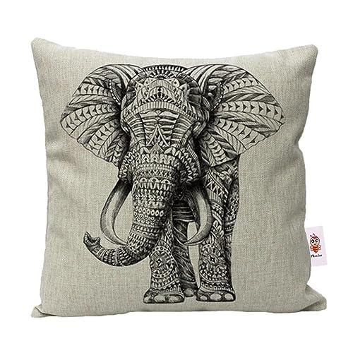 Nunubee Animal Cotton Linen Cushions Cover Sofa Throw Pillow Case Home Decor Elephant