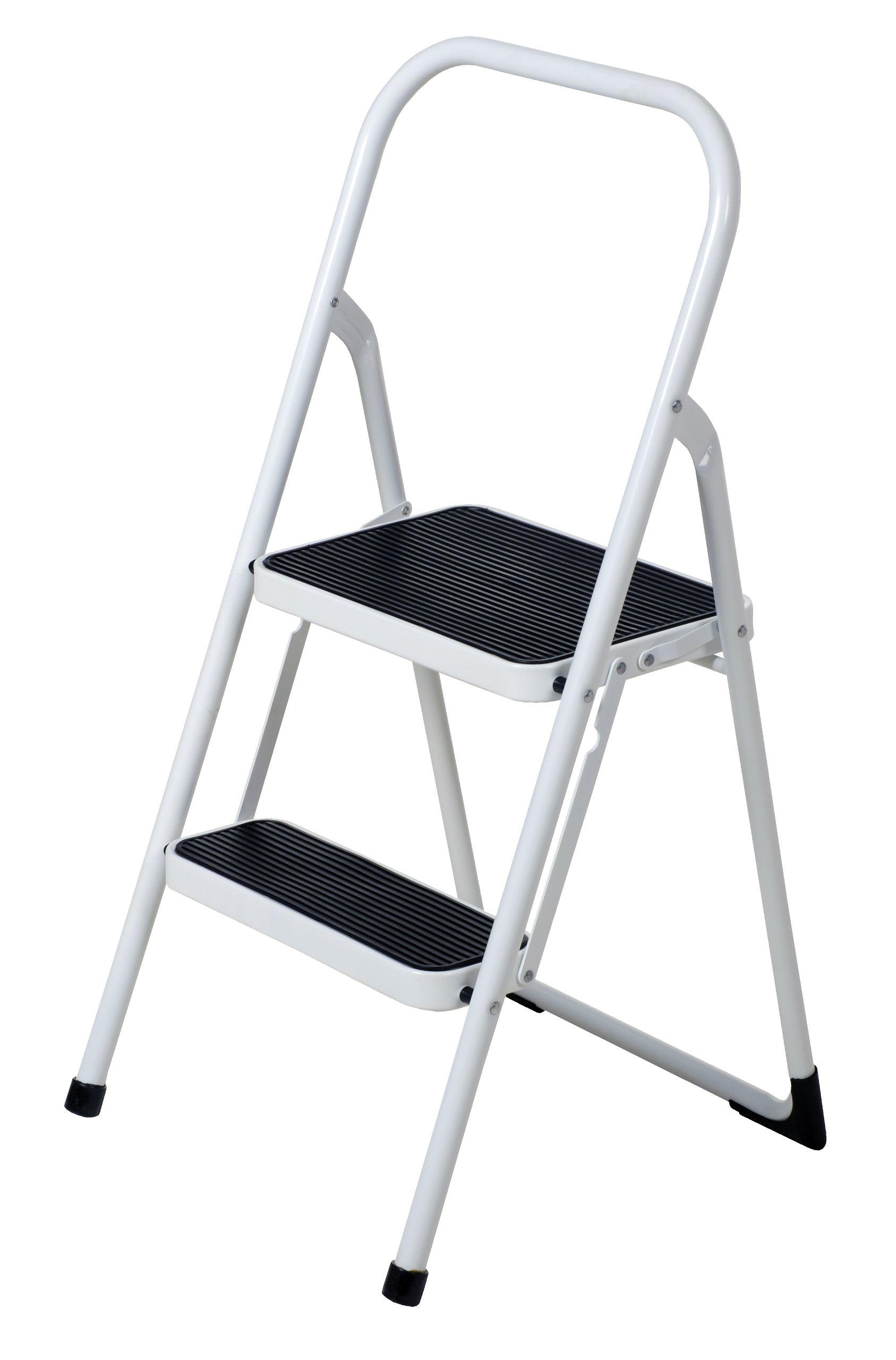 Vestil FSL-2 Fold Up 2 Steps Ladder, Steel, 250 lbs Capacity, 18'' Width x 38-1/2'' Height x 20'' Depth Unfolded