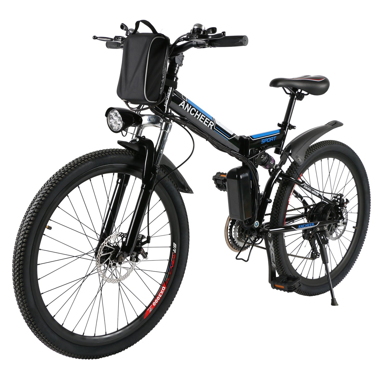 Amazon ANCHEER Folding Electric Mountain Bike With 26 Inch Wheel Large Capacity Lithium Ion Battery 36V 250W Premium Full Suspension And Shimano