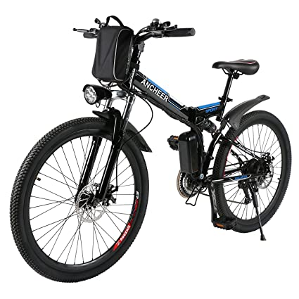 1839070c3d5 ANCHEER Folding Electric Mountain Bike with 26 Inch Wheel, Large Capacity  Lithium-Ion Battery