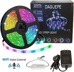 WiFi led Strip Lights Alexa - DAGUEPE 16.4 FT 5050 RGB WiFi Smart led Strip Light for Bedroom Compatible with Alexa and Google Home, RGB Smart LED Lights, Sync to Music Color Change Lights