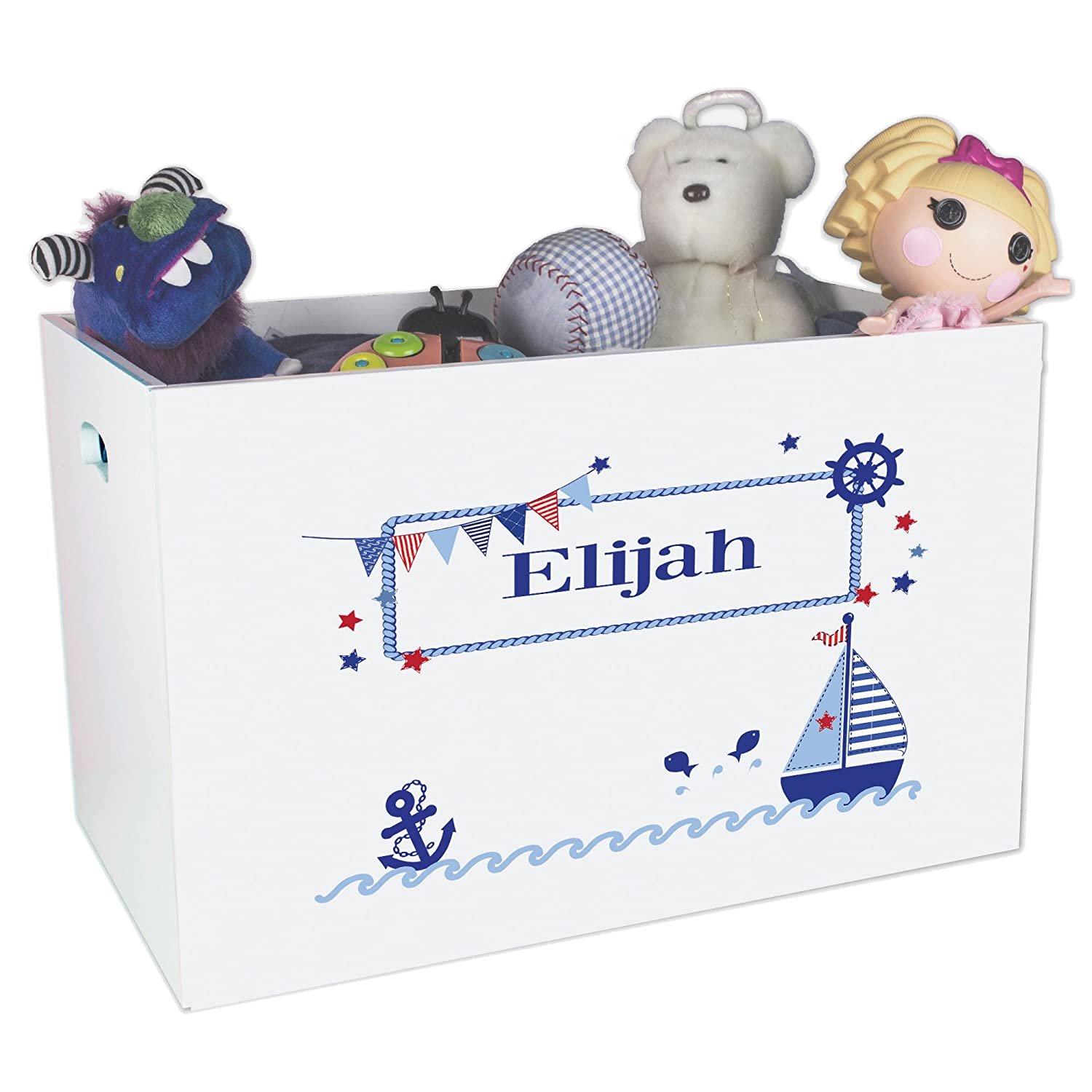 Personalized Sailboat Childrens Nursery White Open Toy Box MyBambino ybin-201