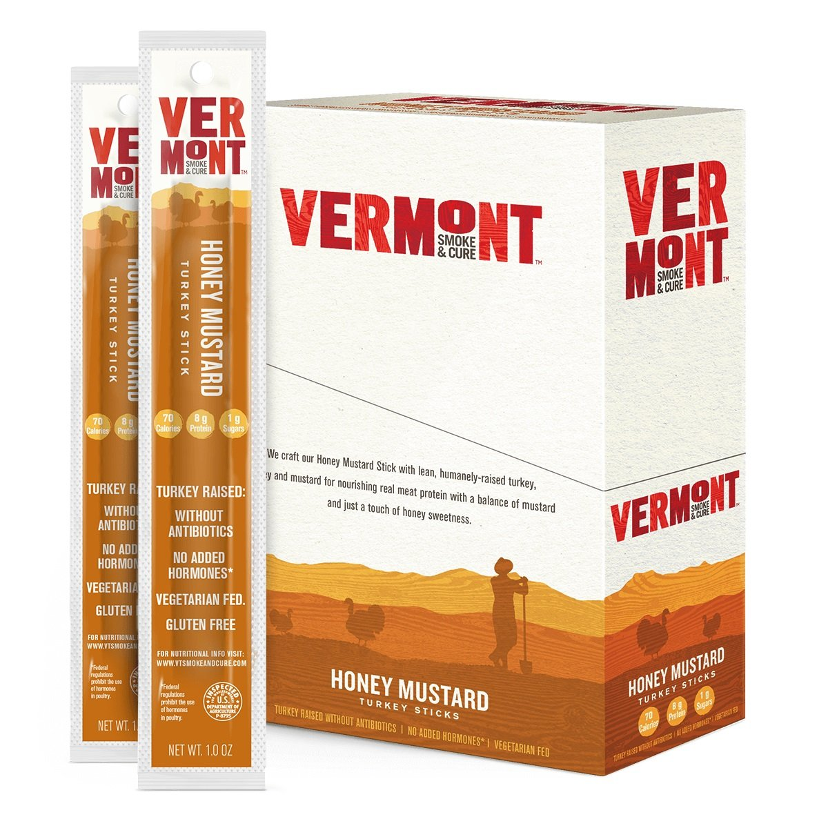 Vermont Smoke & Cure Meat Sticks, Turkey, Antibiotic Free, Gluten Free, Honey Mustard, 1oz Stick, 24 Count