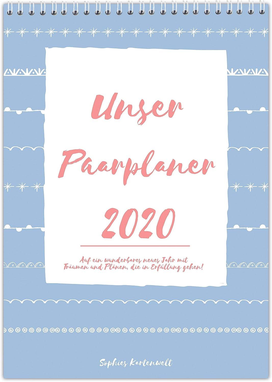 f/ür 2 Personen mit Feiertagen und Vorschau f/ür 2021 DIN A3 Paarkalender Paarplaner 2020 mit 3 Spalten von Sophies Kartenwelt