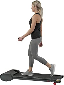 Sunny Health & Fitness Walkstation Slim Flat Treadmill for Under Desk and Home Fitness