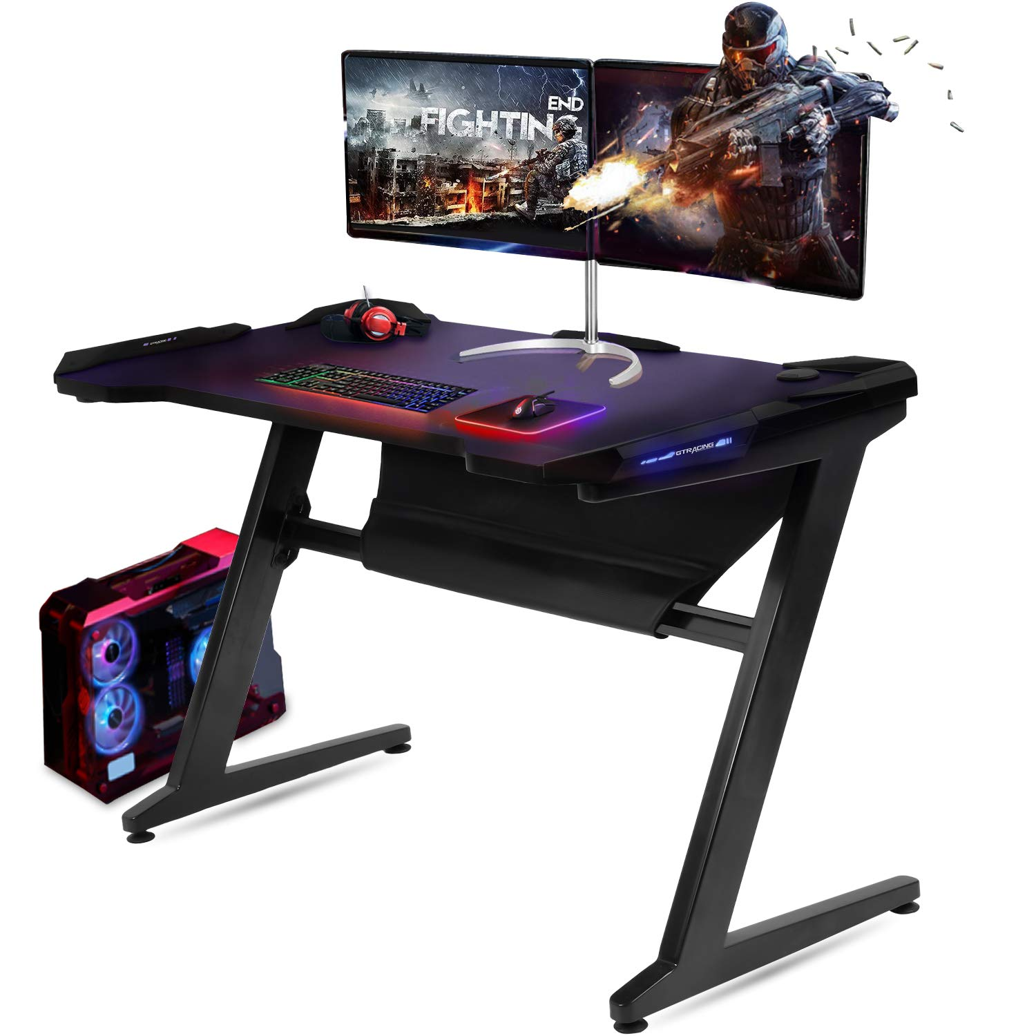 size 40 c5cdd 0c0b0 GTRACING Gaming Desk Racing Computer Table with LED Light PC Stand  Ergonomic Durable Z-Shaped E-Sports Desk Home Office Workstation GTZ01 Black
