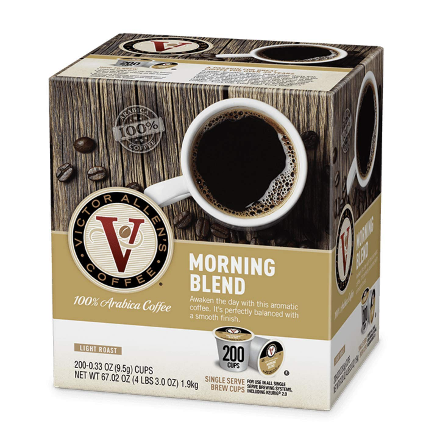 Morning Blend for K-Cup Keurig 2.0 Brewers, Victor Allen's Coffee Light Roast Single Serve Coffee Pods, 200 Count by Victor Allen (Image #1)