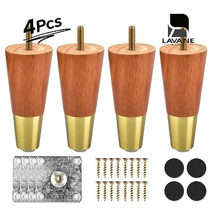 Amazon.com: La Vane - Patas de madera para muebles (4 ...