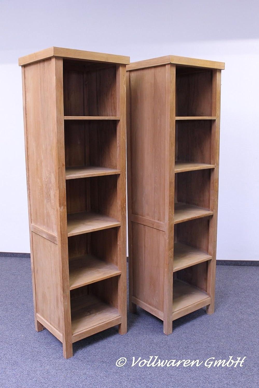 2er SET Bücherregal CUBE Teakholz massiv 190x50 Regal Bücherschrank DVD Schrank