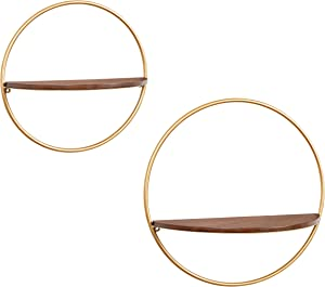 Kate and Laurel Maxfield Mid-Century Wall Shelf, Set of 2, Walnut and Gold, Chic Round Wall Decor for Storage and Display