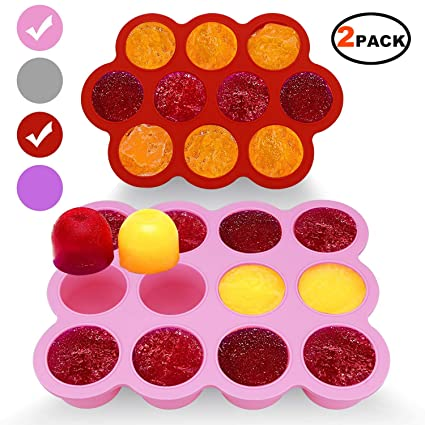 Amazon Com Silicone Freezer Tray For Baby Food Storage 2 Pack