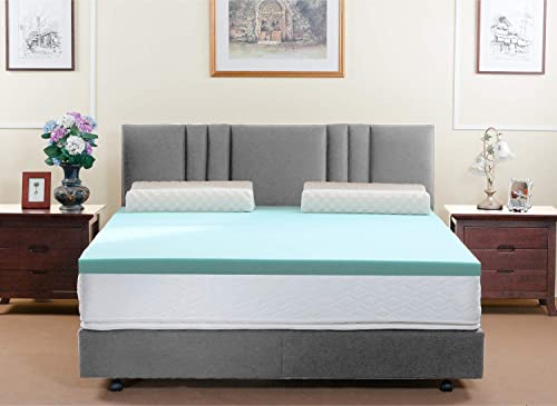 HOFISH Mattress Toppers Queen Gel Infused Memory Foam Pads,Soft Yet Supportive