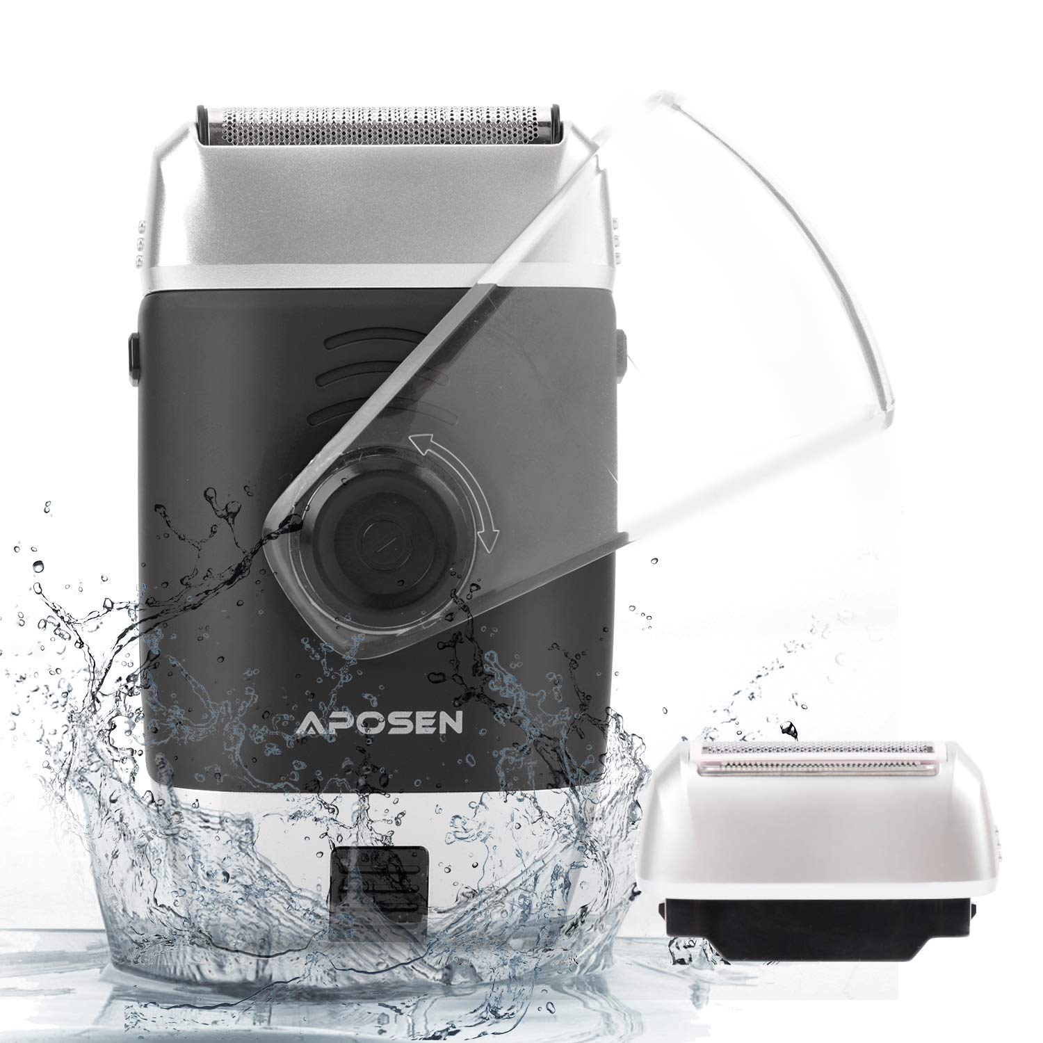 APOSEN Electric Razor for Men, Cordless Electric Shaver with Pop-up Trimmer, USB Rechargeable, Wet & Dry Foil Shaver, T12 Black
