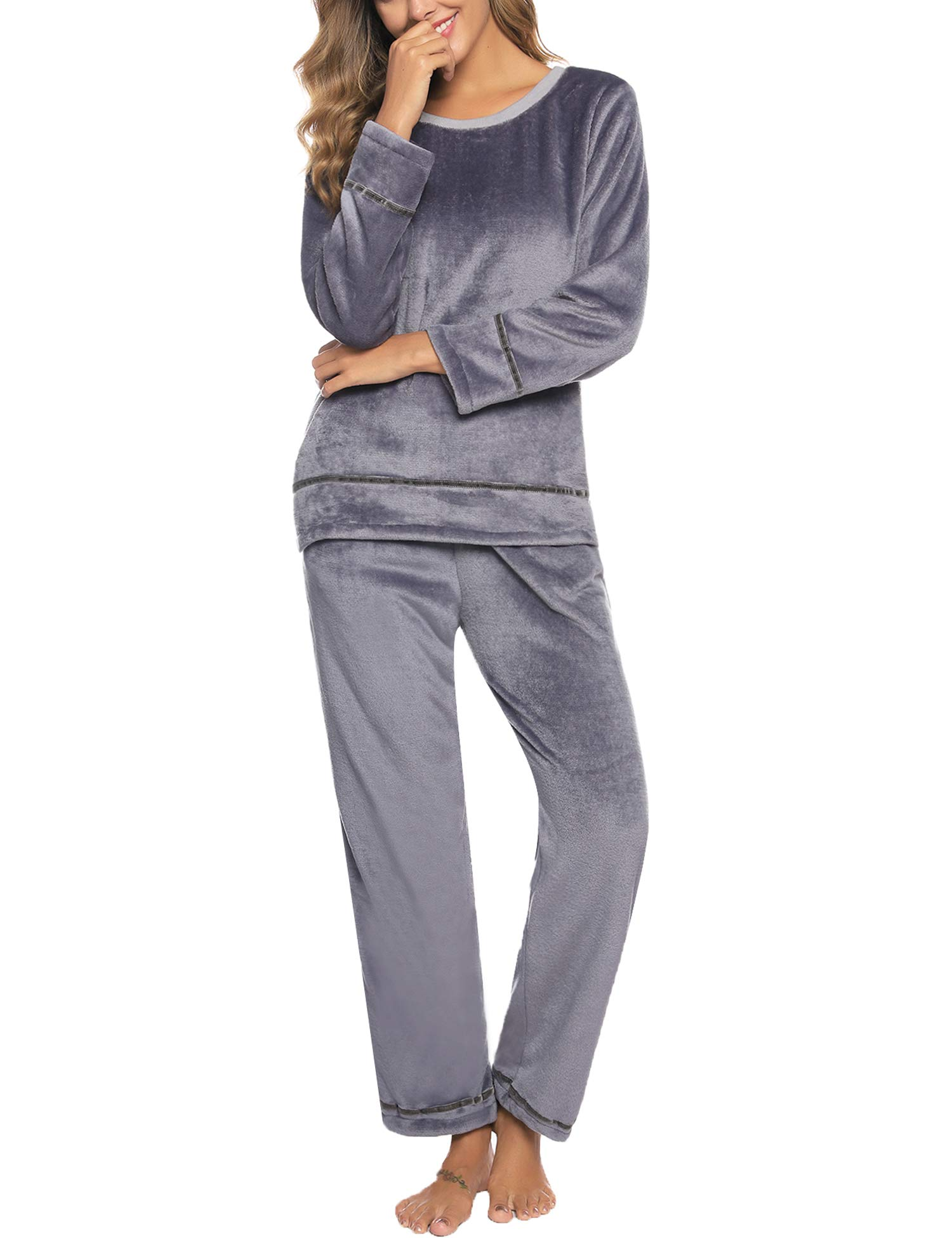 Sykooria Women's Velour Sweatsuit Set 2 Piece Tracksuits Pullover Sport Suits Long Sleeve Outfits Grey by Sykooria