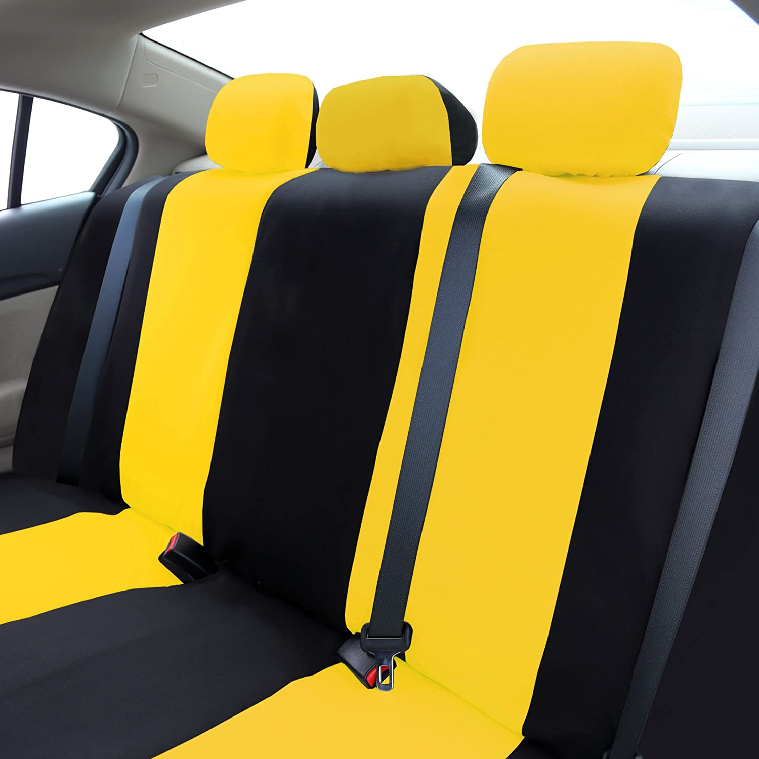 FH-FB050115 Flat Cloth Car Seat Covers Yellow//Black Color