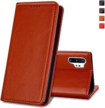 EATCYE Funda para Samsung Galaxy Note 10 Plus, [Cuero Genuino] Vintage Carcasa Libro de Cuero Estuche Plegable con Billetera Diseño Delgado [Cierre Magnético]: Amazon.es: Electrónica