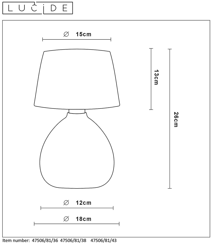 Lucide RAMZI E14 Tischlampe Cream 18 x 18 x 26 cm Beige Keramik 40 W