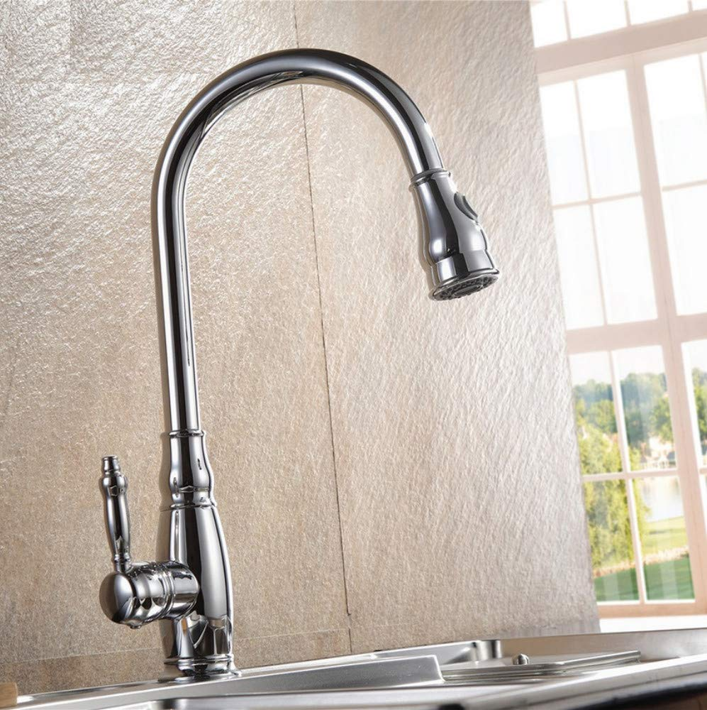 Dwthh Pull Out Kitchen Faucet Chrome Brush Nickel Black Kitchen Tap Brass Made Sink Mixer Tap Deck Mounted Faucet