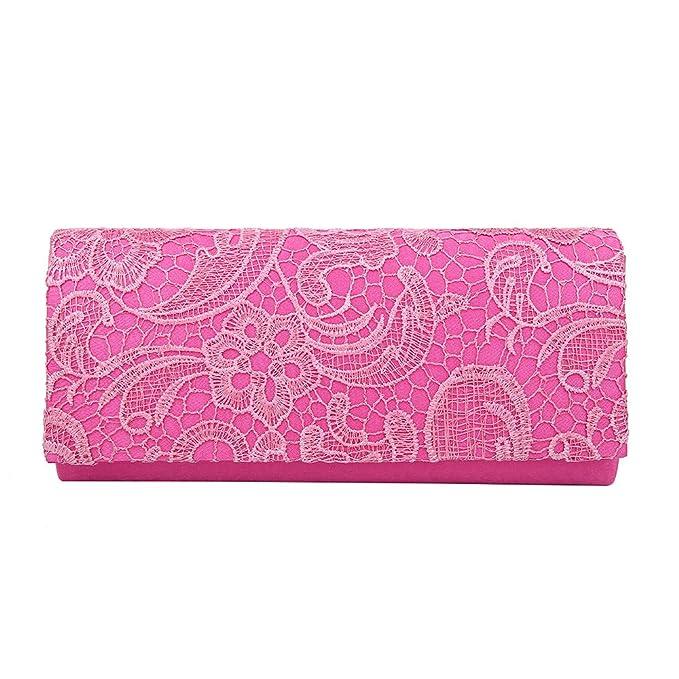 Hot Style Zone - Cartera de mano de satén para mujer rosa fucsia 26cm x 11cm: Amazon.es: Ropa y accesorios