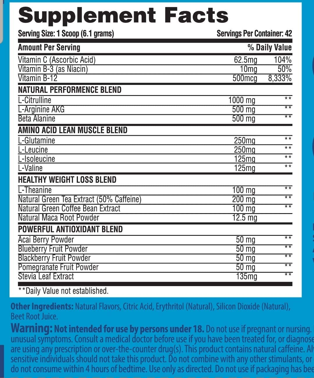 Clean Lean Natural Performance Plus by FitFarm USA Ultra-Clean Workout Catalyst Healthy Weight Loss Blend, Lean Muscle BCAA s Immune Boosting Antioxidants Non-GMO GF 42 SVG Blue-BlackBerry Acai