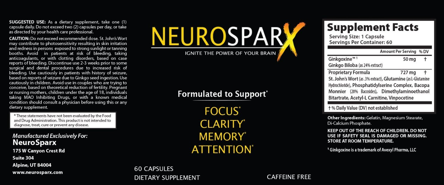 NeuroSparx – Boost your Brain Power – HUGE SALE Brain Health Vitamin Supplement Increase your Memory and Focus Today 60ct Bottle