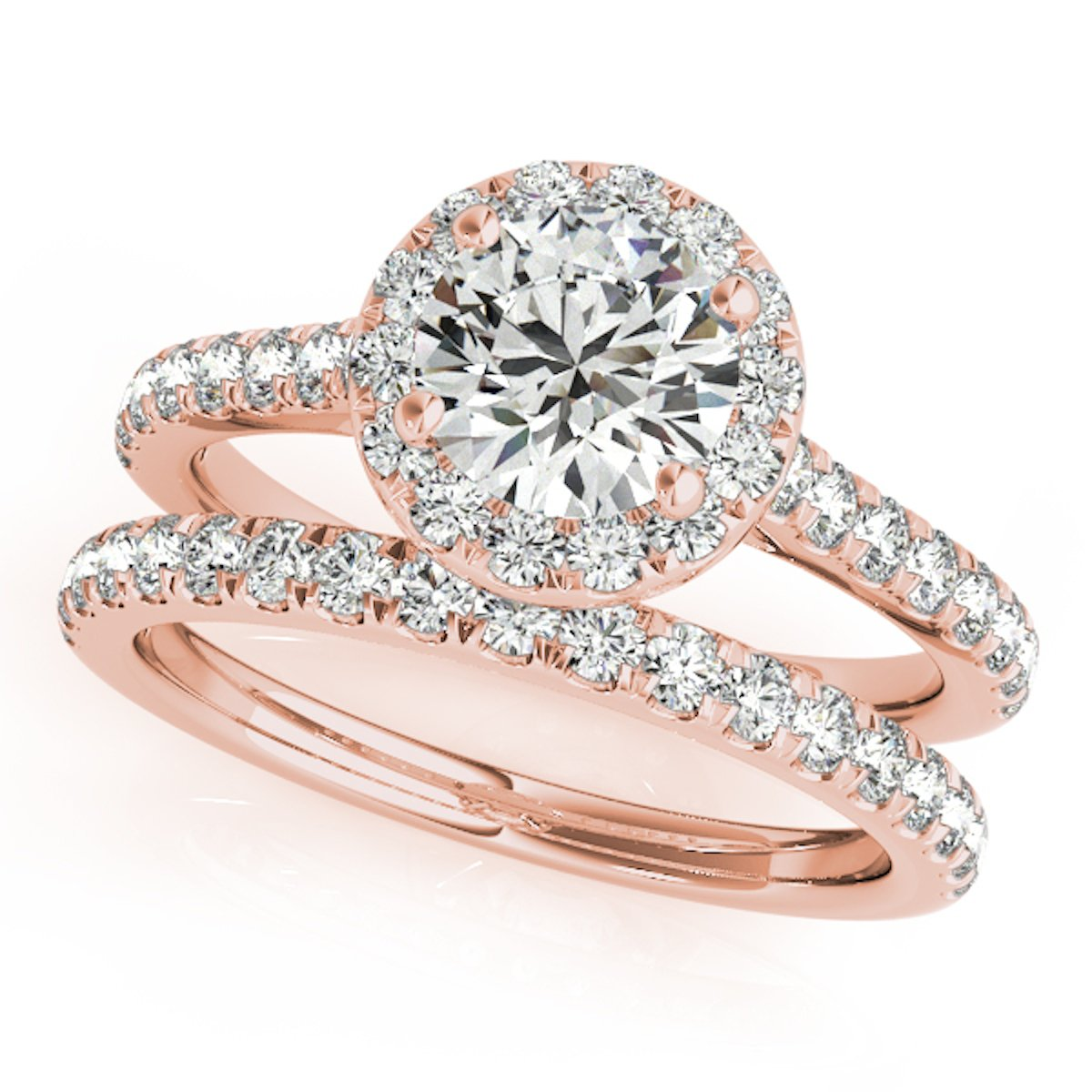 0.75 Ct. Diamond Engagement Bridal Ring Set 14K Solid Rose Gold