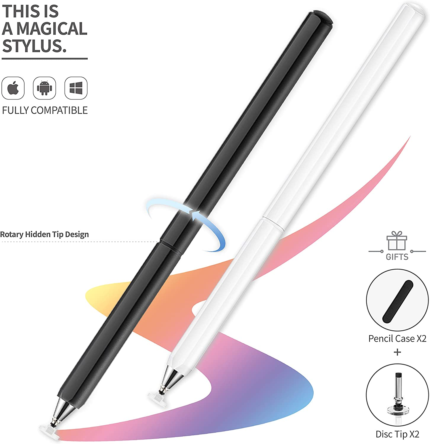 Stylus Pens, Universal High Sensitive & Precision Capacitive Disc Tip Touch Screen Pen Stylus for iPhone/iPad/Pro/Samsung/Galaxy/Tablet/Kindle/iWatch