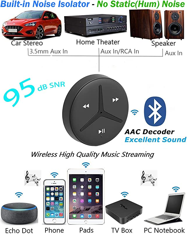 Aston Innovations SoundTek A1+ Aux Bluetooth Car Kit Handsfree Calls Music Streaming Qualcomm Chipset Built in DSP + MIC and Noise Isolator AAC Codec Aux