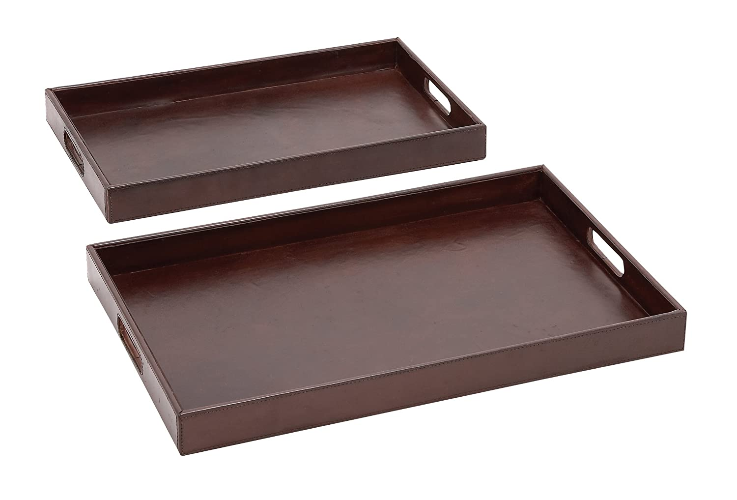 Amazon.com: Plutus Brands The Suave Set of 2 Wood Real Leather Tray: Home & Kitchen