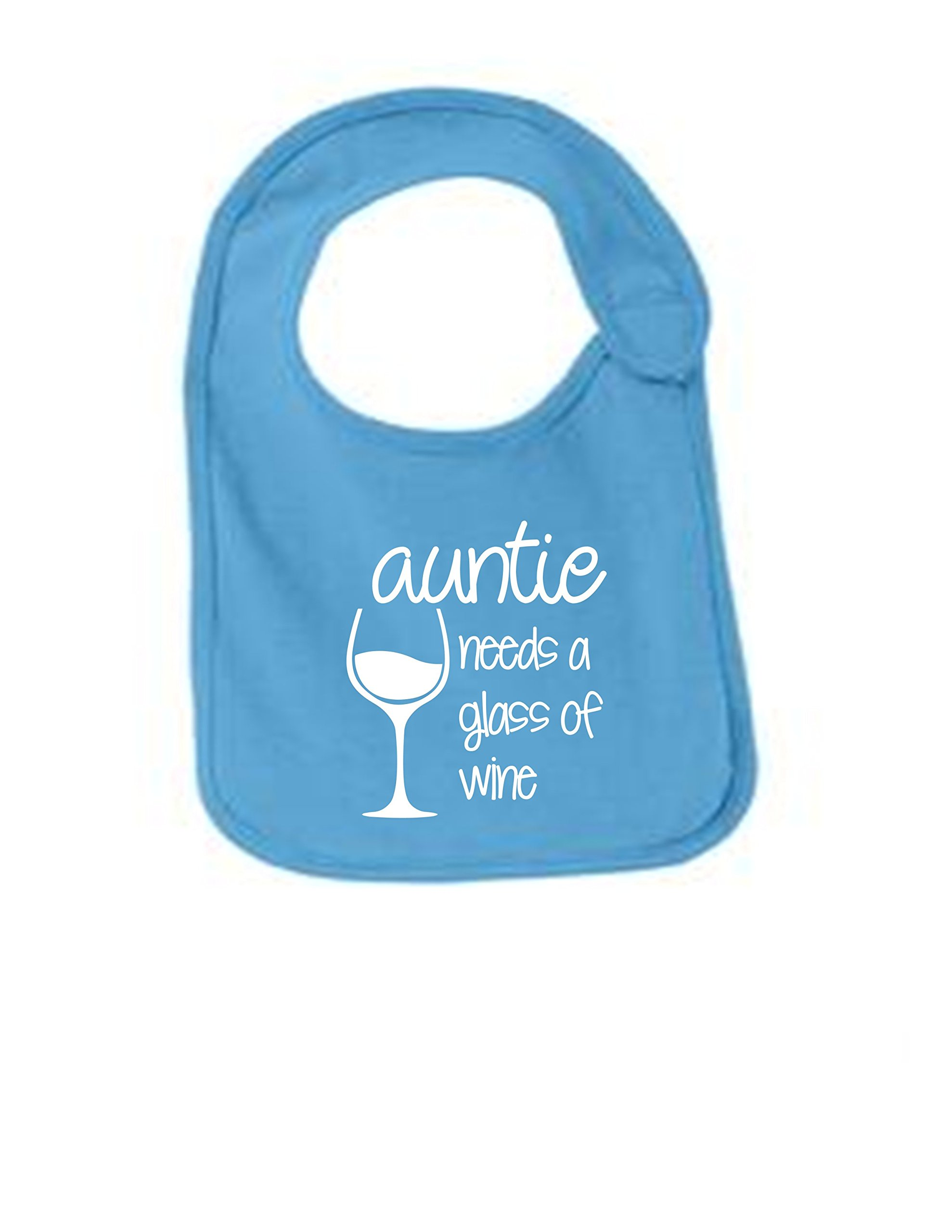 Auntie Needs A Glass Of Wine Funny Infant Jersey Bib Aquatic Blue One Size by Sod Uniforms