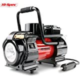 Hi-Spec Heavy Duty 12V Single Cylinder Portable Air Compressor Pump with Digital LED Gauge, Auto Shut-off, 120PSI Max Pressure, 3 Adapters GREAT for Balls, Pool Toys, Bike, SUV, Car Tire Inflator